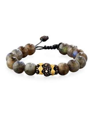 Armenta Old World Midnight Labradorite Bead Bracelet with Diamond Spacer