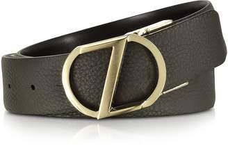 Ermenegildo Zegna Dark Brown Leather Reversible & Adjustable Belt w/Gold-tone Signature Buckle