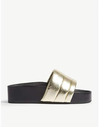 Sandro Metallic leather platform sandals