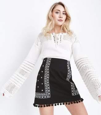 New Look Petite Black Folk Embroidered Pom Pom Mini Skirt