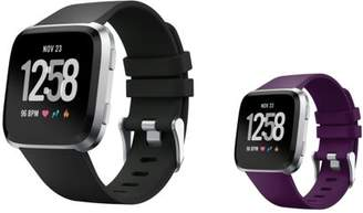 Fitbit Versa Bands Small by Zodaca 2-PACK (Black + Purple) Replacement Bands SMALL Size Adjustable Wrist Band Soft Rubber Silicone Strap Clasp Buckle For Versa Fitness Smartwatch Black + Purple