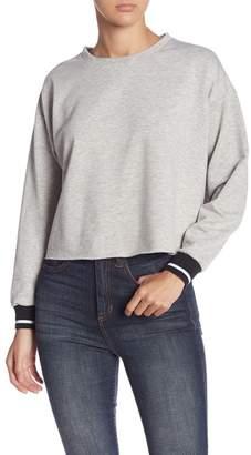 June & Hudson Stripe Cuff Long Sleeve Sweatshirt
