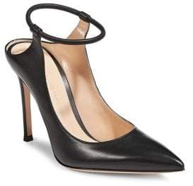 Gianvito Rossi Point Toe Leather Ankle-Strap Pumps