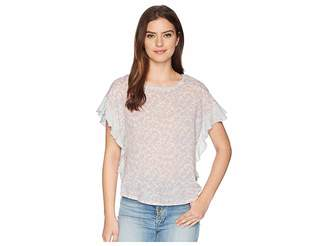 Vince Camuto Floral Woven Front Top Women's Clothing