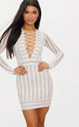 at PrettyLittleThing · PrettyLittleThing White Striped Mesh Lattice Detail  Plunge Bodycon Dress 1f257adde