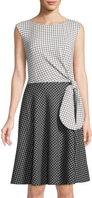 Tahari ASL Grid-Print Tie-Waist Dress