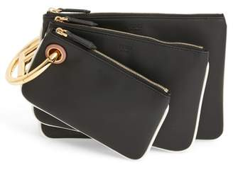 Fendi Triplette Set of Three Calfskin Leather Pouches