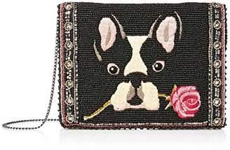 Mary Frances Bow Wow Beaded & Embroidered French Bulldog Mini Crossbody Handbag