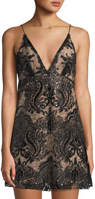 Free People Night Shimmers Sequined Lace Mini Dress