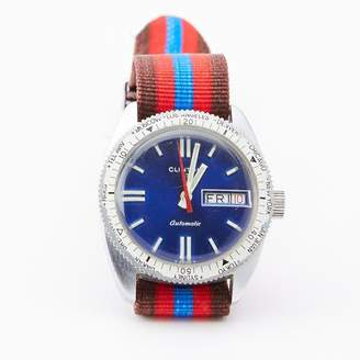 Blade + Blue Vintage Clinton Diver's Watch with Striped Band
