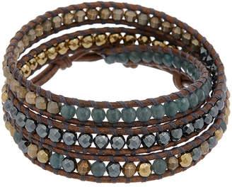 Chan Luu Silver & Leather Gemstone Triple Wrap Bracelet