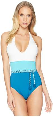 Vince Camuto Sun Block Color Blocked One-Piece w/ Braided Belt and Removable Soft Cups Women's Swimsuits One Piece