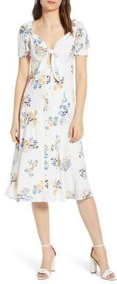4SI3NNA the Label Floral Print Front Tie Midi Dress