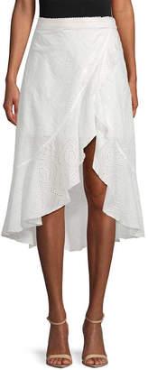 Allison Collection Eyelet Mock-Wrap Skirt