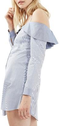 Women's Topshop Bardot Stripe Shirtdress $90 thestylecure.com