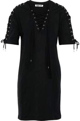 McQ Lace-up Cotton-jersey Mini Dress