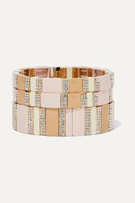 Roxanne Assoulin Pink Sand Set Of Three Enamel, Gold-tone And Crystal Bracelets