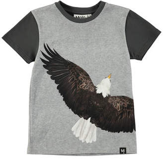 Molo Raven Short-Sleeve Jersey T-Shirt w/ Eagle Graphic, Size 4-10