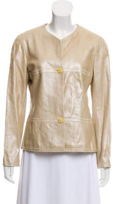 Chanel Button-Up Leather Jacket