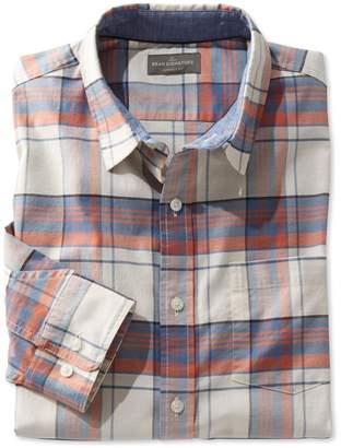 L.L. Bean L.L.Bean Signature Stretch Oxford Shirt, Slimmest Fit Long-Sleeve Plaid