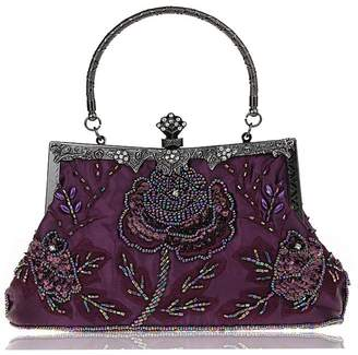 XON Vintage Roe Floral Beadedequinned Evening Bag Clutch Pure Handbag Women