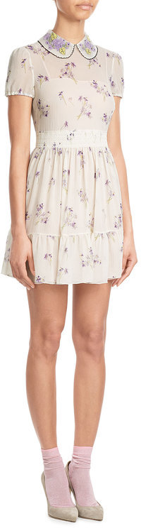 RED Valentino R.E.D. Valentino Printed Silk Dress with Collar