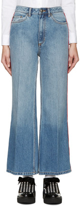 Marc by Marc Jacobs Blue & Red High-Wasted Flared Jeans $280 thestylecure.com
