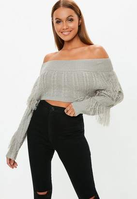 Missguided Gray Bardot Cropped Cable Knit Fringe Sweater
