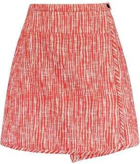 Carven Wrap-Effect Cotton-Blend Bouclé Mini Skirt