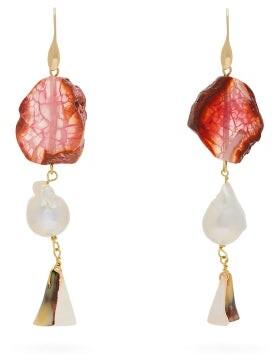 Carolina Herrera Stone & Pearl Drop Earrings - Womens - Orange
