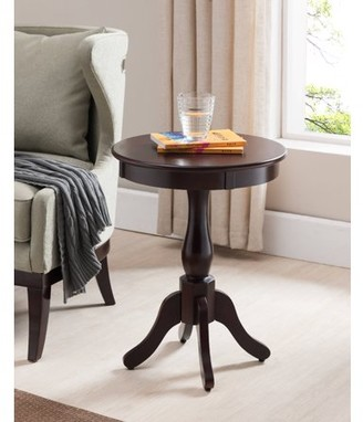 Pilaster Designs Olien Dark Cherry Wood Contemporary Occasional Accent Side Sofa Snack Magazine Table