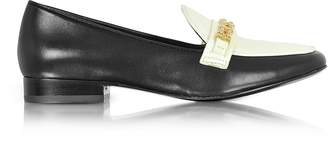 Tory Burch Gemini Link Black Leather and Bleach Patent Leather Loafer Shoe