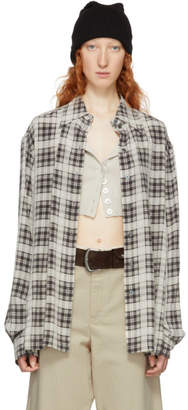Marc Jacobs Beige and Brown Redux Grunge Silk Plaid Shirt