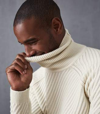 Reiss LEITH CHUNKY RIBBED ROLLNECK JUMPER Ecru