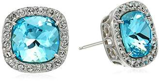 Swarovski Platinum Plated Sterling Silver Color Made with Crystal Square Shape Earrings
