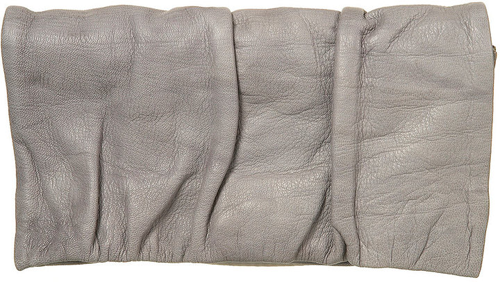 Leather Ruched Flap Purse