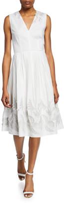 Elie Tahari Astrid Sleeveless A-Line Midi Dress