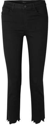 J Brand Ruby Cropped Distressed High-rise Slim-leg Jeans - Black