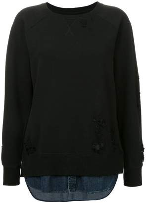 Puma Maison Yasuhiro distressed denim panel sweatshirt