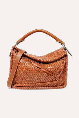 Loewe Puzzle Small Woven Leather Shoulder Bag - Brown