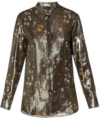 Altuzarra Chika Metallic Floral Print Silk Blend Shirt - Womens - Gold Multi