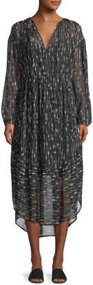 Vince Brushstroke Shirred Silk Shift Dress