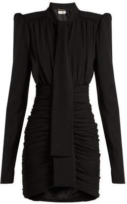 Saint Laurent Ruched Crepe Mini Dress - Womens - Black