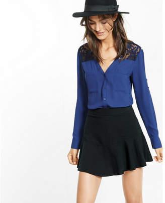Express Slim Fit Lace Yoke Portofino Shirt $59.90 thestylecure.com