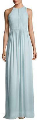 Halston Fortuny Plissé Back Drape Evening Gown