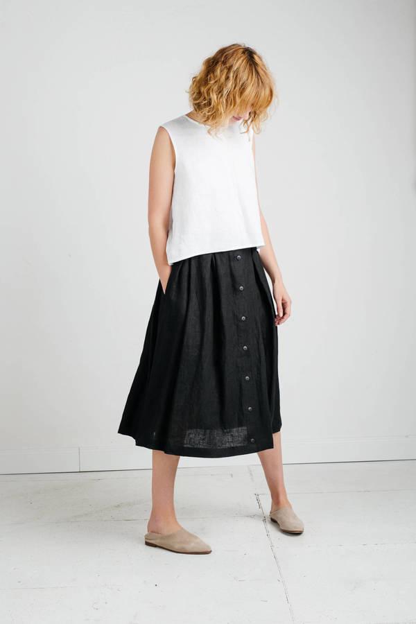 Etsy Black Linen Skirt - Midi Length Skirt - Linen Skirt with Pleats - Women Skirt - Handmade by OFFON