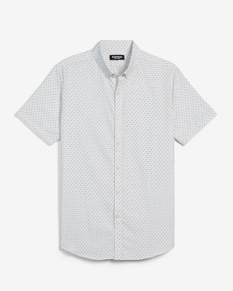 Express Slim Dot Wrinkle-Resistant Performance Short Sleeve Shirt