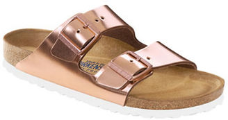 Birkenstock Arizona Metallic Leather Buckle Sandals $134.95 thestylecure.com
