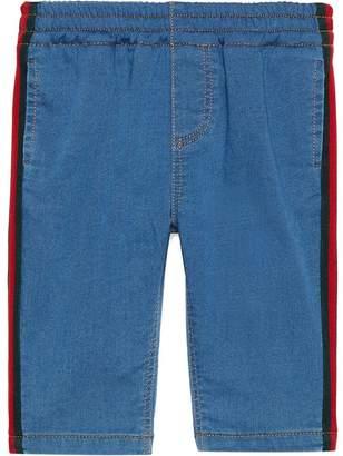 Gucci Kids Web piped denim trousers