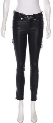 Frame Leather Mid-Rise Pants w/ Tags
